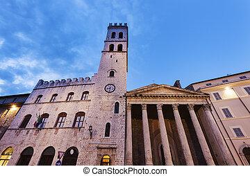 Minerva Temple in Assisi. Assisi, Umbria, Italy