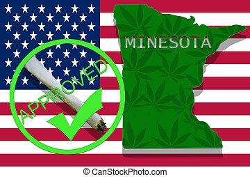 minesota, auf, cannabis, hintergrund., droge, policy., legalization, von, marihuana, auf, usa markierung
