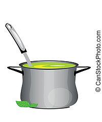 minestra, caldo, pan
