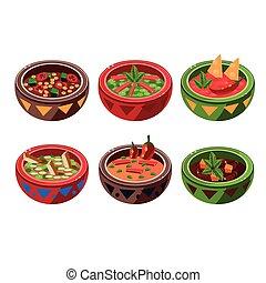 minestra, collezione, messicano, tradizionale