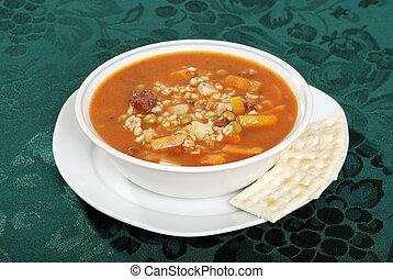 minestra, cracker, orzo, manzo