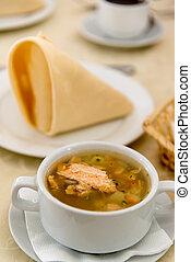 minestra, fish, tavola, ristorante