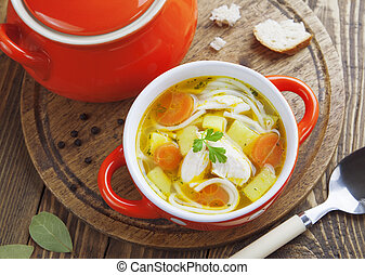 minestra, pollo