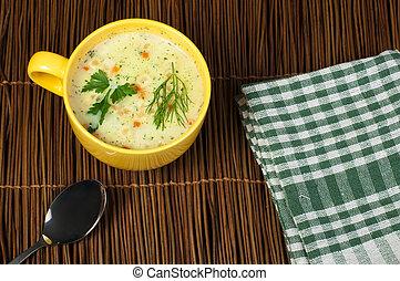 minestra, pollo, crema