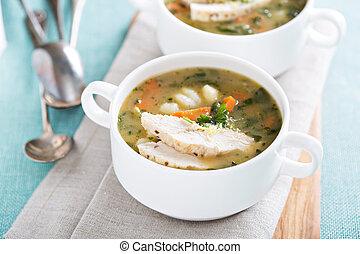 minestra, pollo, verdura,  gnocchi