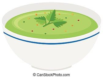 minestra verdura, ciotola, crema