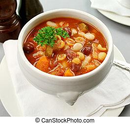 Delicious Italian minestrone soup ready to serve.