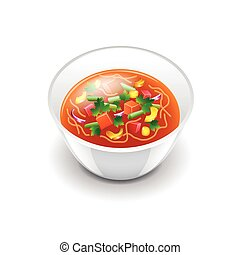 Minestrone soup isolated on white vector - Minestrone soup...
