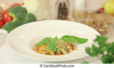 Minestrone vegetable soup plate