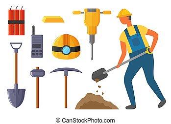 mineur, kit, industrie, exploitation minière, equipments, vecteur