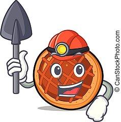 mineur, mascotte, baket, dessin animé, tarte