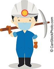 mineur, vecteur, contre, dessin animé, illustration, gants, protection, latex, masque, santé, chirurgical, mignon, urgence