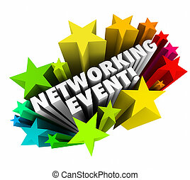 minglin, establecimiento de una red, estrellas, empresa / negocio, palabras, invitación, reunión, acontecimiento