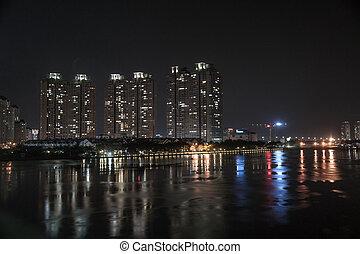 minh, chi, cityscape, ho, noche