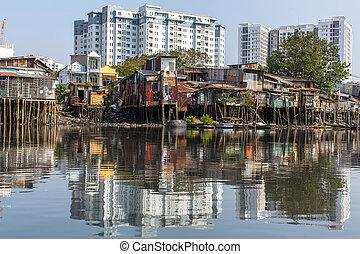 minh, city., χ, スラム, ho, vietnam.