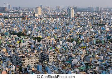 minh, ciudad, aéreo, chi, casas, ho, residencial, durante, día, vista