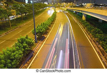 minh, ciudad, coche, ho, noche, chi, carretera
