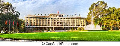 minh, ciudad, palacio, chi, ho, panorama, vietnam., independencia