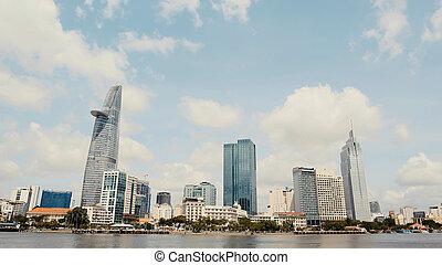 minh, ciudad, ramas, rascacielos, empresa / negocio, árboles., contra, inclinar, vietnam, ho, plano de fondo, chi, centro