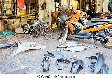 minh, reparación, calle, centro, chi, partes, ho, motos, reemplazo