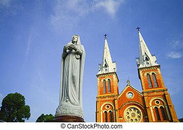 minh, Saigon, basílica, dama notre, ciudad, chi, vietnam, Ho...