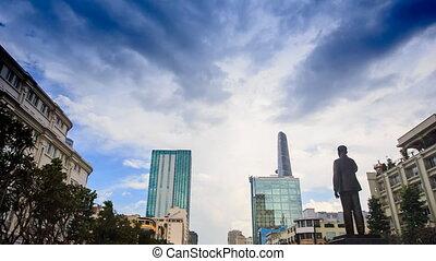 minh, saigon, nuages, centre, chi, sur, ho, monument