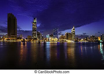 minh, torre, financiero, chi, rascacielos, ciudad, bitexco, ho, vietnam