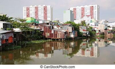 minh, ville, chi, taudis, rivière, vietnam, ho, saigon