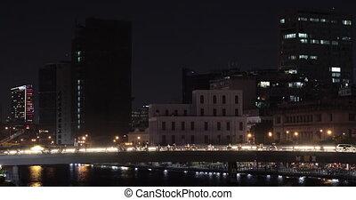minh, ville, chi, trafic, ho, nuit