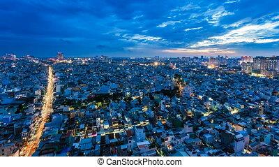 minh, ville, skyl, chi, -, coucher soleil, ho