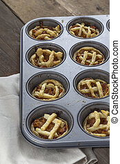 mini, äpple tårtor