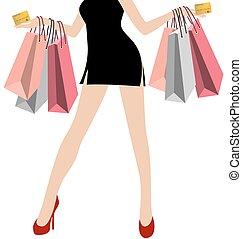 mini, achats femme, coloré, sacs, beaucoup, main, crédit, noir, robes, fond, blanc, carte