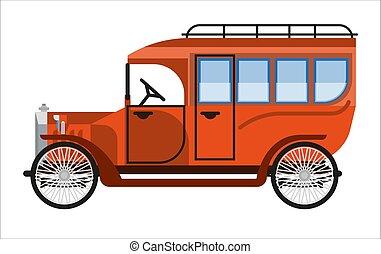 mini, antigas, autocarro, isolado, vindima, laranja, branca