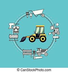 mini, ao redor, cor, quadro, movimento, construção, fundo, terra, ferramentas, circular