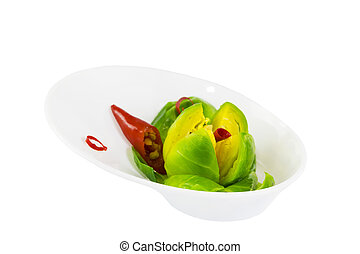 Mini appetizers from vegetable canap in plastic disposable dishes on white background