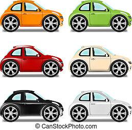 mini, automobilen, hos, store hjul, seks, farver