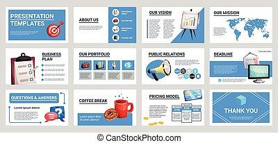 mini, banieren, set, presentatie, zakelijk