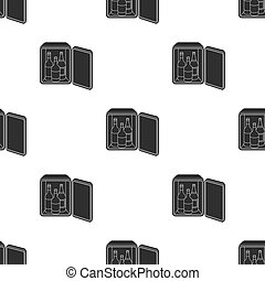 Mini-bar icon in black style isolated on white background. Hotel pattern stock vector illustration.