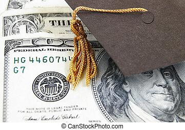 mini, berretto laurea, su, soldi