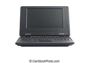 Mini black netbook on white