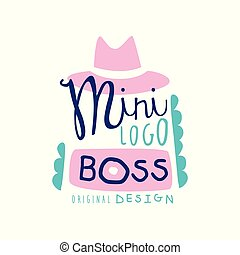 Mini boss logo creative design with broad-brimmed hat and...