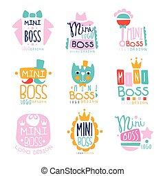 Mini boss logo original design colorful hand drawn vector...