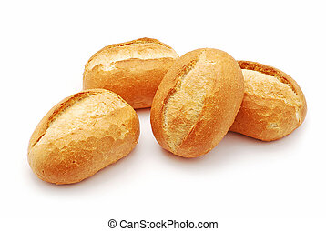 mini bread on white background