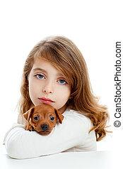 mini, brunette, chien, girl, chiot, pinscher