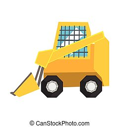 Mini bulldozer with protected windows, skid loader vector Illustration