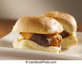 mini burger sliders shot with selective focus
