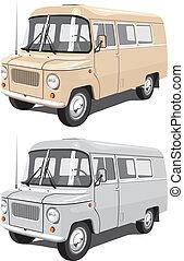 Mini bus - Vector isolated mini bus cargo and passengers
