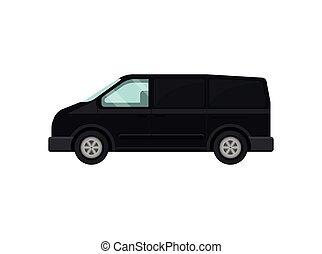 Mini-bus for passengers. Black van. Transport for airport customers. Service car. Automobile theme. Flat vector design