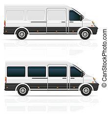 mini bus for the carriage of cargo and passengers illustration