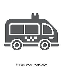 Mini bus glyph icon, automobile and car, minivan sign, vector graphics, a solid pattern on a white background.